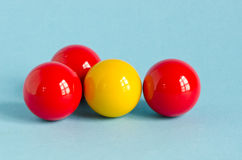 Red and yellow billiards ball Stock Images