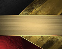 Red yellow and black background with gold ribbon. Element for design. Template for design. copy space for ad brochure or announcem Royalty Free Stock Images