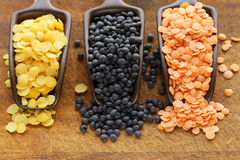 Red, yellow and black lentils Royalty Free Stock Photos