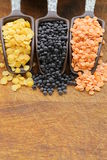 Red, yellow and black lentils Royalty Free Stock Photography