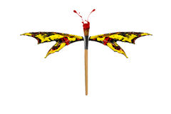 Red yellow black paint made dragonfly Royalty Free Stock Photography