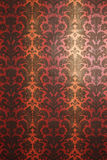 Red and yellow with black pattern wallpaper. Vertical ornament. Vintage style royalty free illustration
