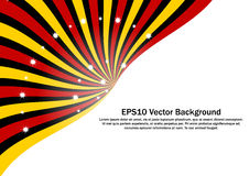 Red, Yellow and Black Radial Sunburst with sparkling stars vector background. Royalty Free Stock Photography