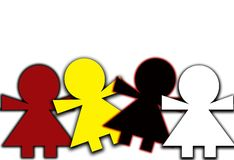 Red and yellow black and white. This is an illustration of four different colored children in harmony royalty free illustration