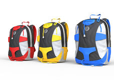 Red, yellow and blue backpacks on white background. Backpacks on white background, image shot in ultra high resolution Stock Images