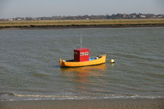 Colourful boat on river stock photos
