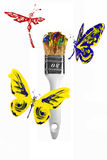 Red yellow blue butterflies and dragonflies flying above paintbrush vector illustration