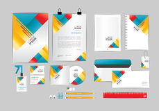 Red yellow and blue corporate identity template  for your business. Includes CD Cover, Business Card, folder, ruler, Envelope and Letter Head Designs Royalty Free Stock Images