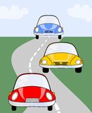 Red, yellow and blue cute car on road. Vector illustration suitable for children or different activities in transport, auto raci Royalty Free Stock Photos