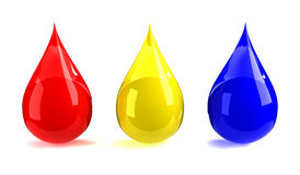 Red, yellow, & blue drops Royalty Free Stock Photo