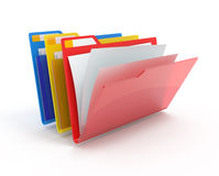 Red, yellow, blue folders. Red, yellow, blue folders with paper isolated on white Stock Photo