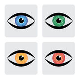 Red, yellow, blue green human eye icons with circu. It in iris. The vector graphic represents concept of futuristic, robot like, modern eye with colorful iris Stock Image
