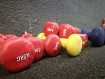 Light weights dumbbells royalty free stock images