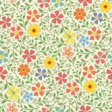 Red, yellow, blue and orange hand drawn flowers in dense vintage style design.. Seamless vector pattern on cream. Background. Perfect for packaging, wellness royalty free illustration