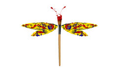 Red yellow blue paint made dragonfly Stock Photography