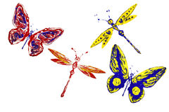 Red yellow blue painted butterflies and dragonflies Royalty Free Stock Photo