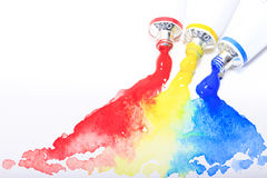 Red,yellow,blue primary watercolor tube Stock Image