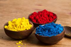 Red, yellow and blue: RYB. Red, yellow and blue (RYB) form the primary color triad in artists' color wheel.  Other colours can be created by mixing primary Stock Photography