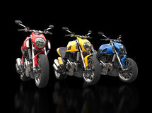 Red, yellow and blue sports motorcycles Royalty Free Stock Photo