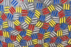 Red yellow blue and white dashes' pattern Stock Image