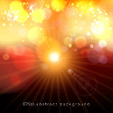 Red and yellow bokeh festive pastel lights glow background with shining star. Defocused abstract shine star sun illustration Royalty Free Stock Image