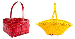 Red and yellow braided basket Stock Image
