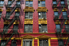 Red and yellow brick apartment Stock Photos