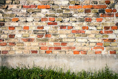 Red and yellow brick wall background Royalty Free Stock Photo