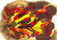 Red, yellow and brow acrylic and watercolor. Painting art, abstract background, splashing, paint, ink, drop, stain Royalty Free Stock Photography