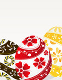 Red, yellow and brown Easter eggs Stock Photo
