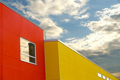 Red and yellow building Stock Photos