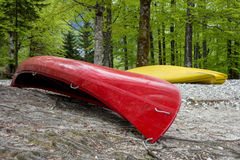 Red and yellow canoe Royalty Free Stock Photo