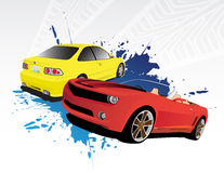 Red and yellow car. Two cars and blue splash Stock Images