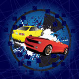 Red and yellow car. On the abstract background Royalty Free Stock Image