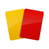 Red, yellow cards. Red, yellow football soccer cards Royalty Free Stock Images