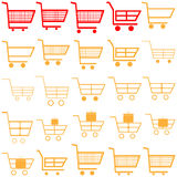 Red and yellow carts -  icons. Royalty Free Stock Photo