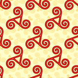 Red and yellow celtic triskels seamless pattern Royalty Free Stock Photos