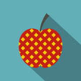 Red and yellow checkered apple icon, flat style Stock Images