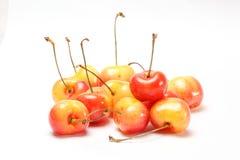 Red yellow Cherry Fruit. Ripe juicy fresh on white background stock image