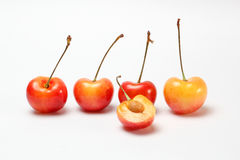 Red yellow Cherry Fruit. Ripe juicy fresh on white background stock images