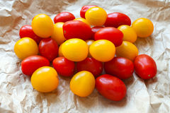 Red and Yellow Cherry Tomatoes Stock Photo