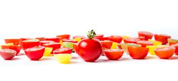 Red and yellow cherry tomatoes isolated Royalty Free Stock Image