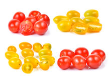 Red and yellow cherry tomatoes isolated on white background. Royalty Free Stock Photos
