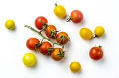 Red and yellow cherry tomatoes Royalty Free Stock Images