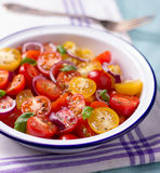 Red and yellow cherry tomatoes salad. In white bowl with onions, basil pepper and salt, on kitchen towel Royalty Free Stock Images