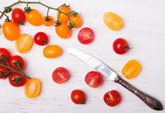 Red and yellow cherry tomatoes Stock Images