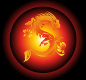 Red and Yellow Chinese Dragon on Black Background Vector Stock Photos