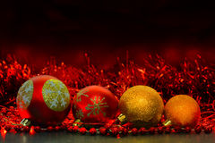 Red and yellow Christmas balls Royalty Free Stock Photography