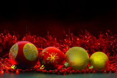 Red and yellow Christmas balls Royalty Free Stock Image