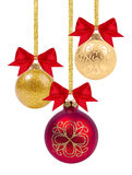 Red and yellow Christmas balls with ribbon and bow Royalty Free Stock Photos